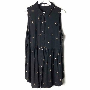 Black Tunic / Dress with Gold Details